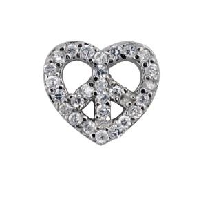 Peace Heart - Silver & CZ Charm